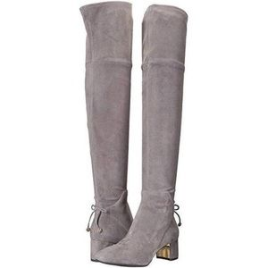 Tory Burch Laila suede over the knee gray boot new